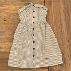 Striped strapless mini dress